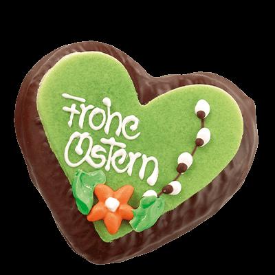Chocolate Easter Lebkuchen Heart GREEN
